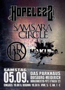 2015 09 05 - Konzertplakat  Blessed By Rhenus, Samsara Circle, Hopelezz und Hakuna am 05.09.2015 im Parkhaus Meiderich, Duisburg 2015 09 05 Konzertplakat
