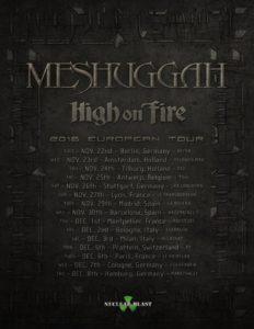 Meshuggah Herbst Tour 2016 Flyer