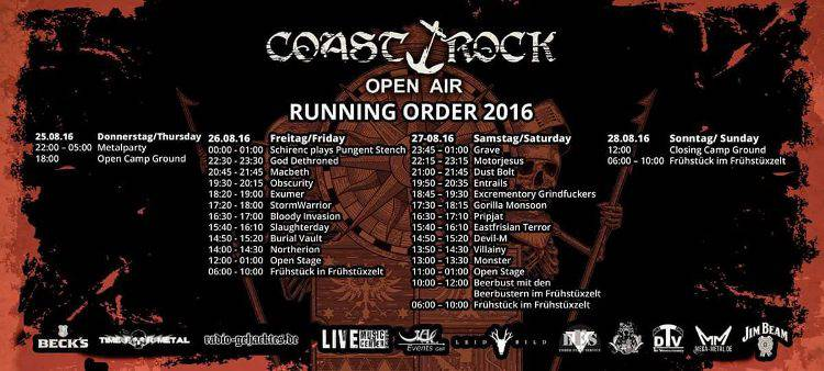 Coast Rock Open Air 2016 - Running Order
