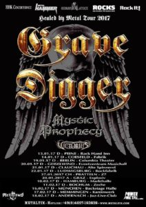 Healed By Metal Tour 2017 - Grave Digger und Support am 11.02.2017 in der Zeche, Bochum Healed By Metal Tour 2017 Poster
