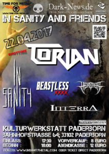 In Sanity And Friends am 22.04.2017 in der Kulturwerkstatt, Paderborn (Vorbericht) In Sanity And Friends Poster 2017