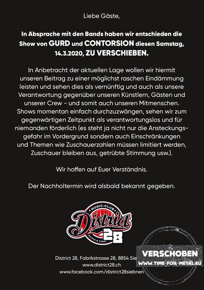 District 28 Konzertabsage GurD und Contorsion Siebnen 2020